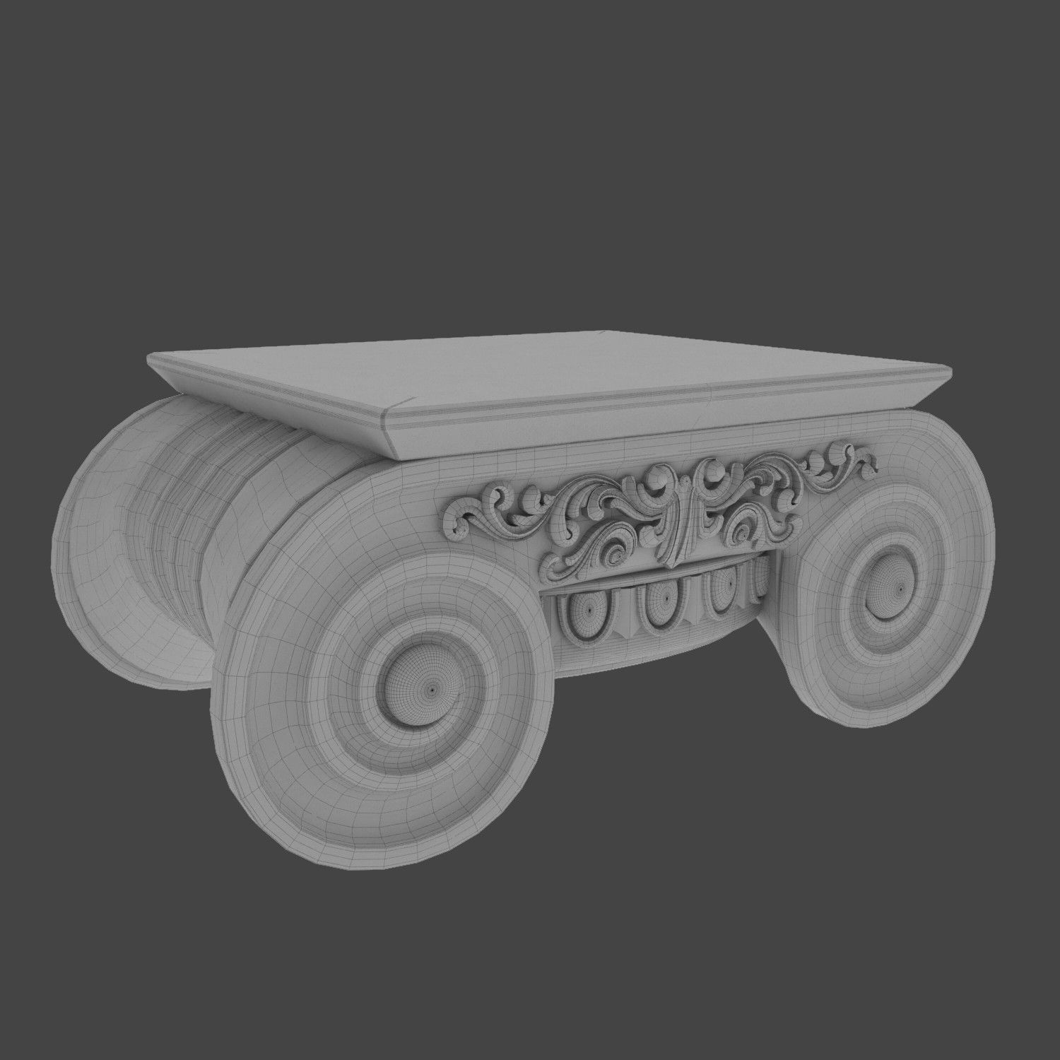 Lovely Max Distressed Ionic Capital Coffee Table