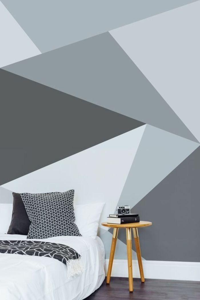 wandgestaltung ideen schlafzimmer wandtapete geometrisches muster  Wohnung  Schlafzimmer