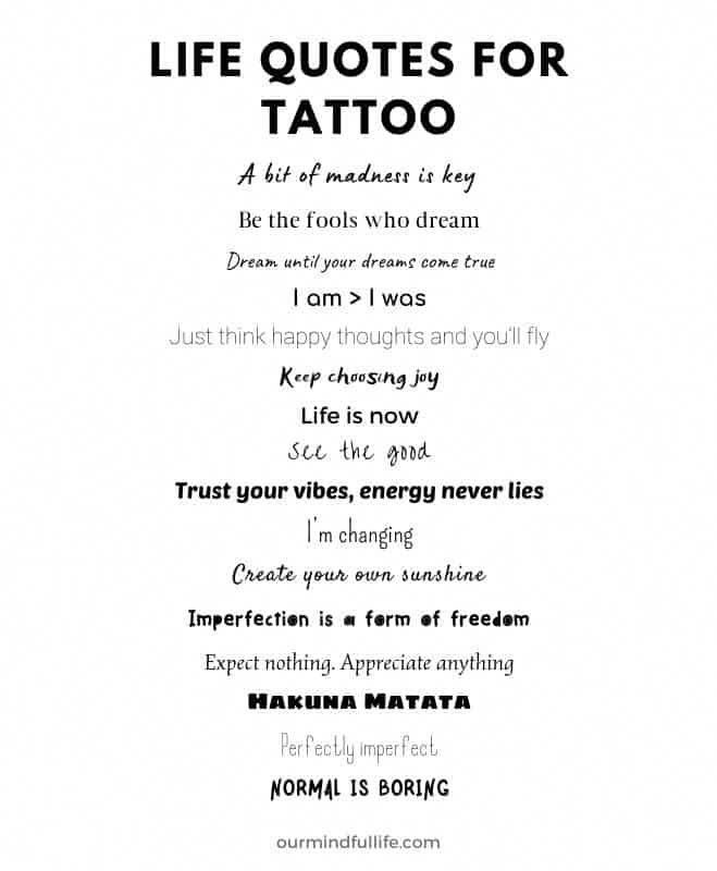 68 Quote Tattoos About Life, Love And Strength 2021