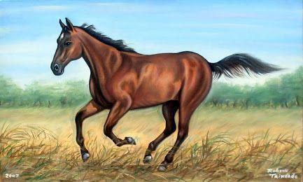 robson trindade - Google+ Uma pintura que fiz no ano de  2007: Cavalo correndo no campo