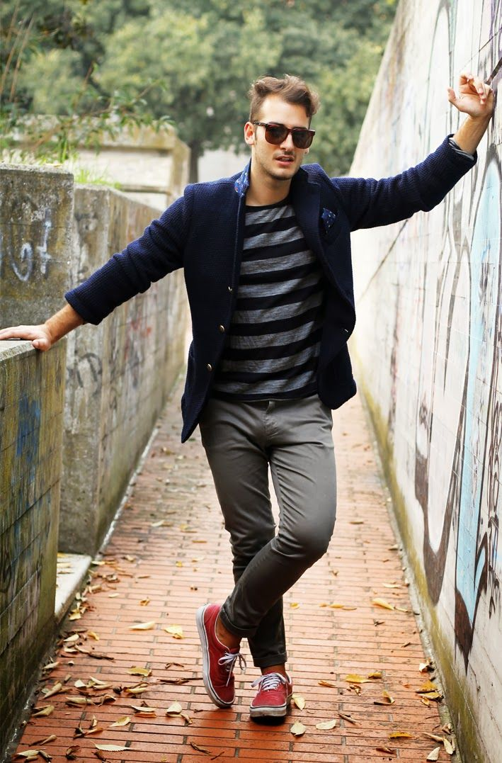 Men's Navy Wool Blazer, Charcoal Horizontal Striped Long Sleeve T-Shirt, Grey Chinos, Red Plimsolls