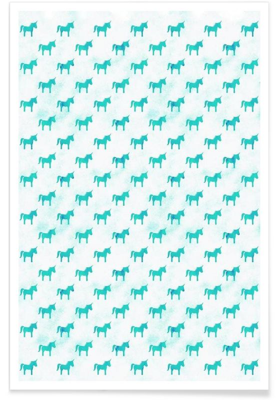 Unicorn Party Aqua - Leah Flores - Premium Poster