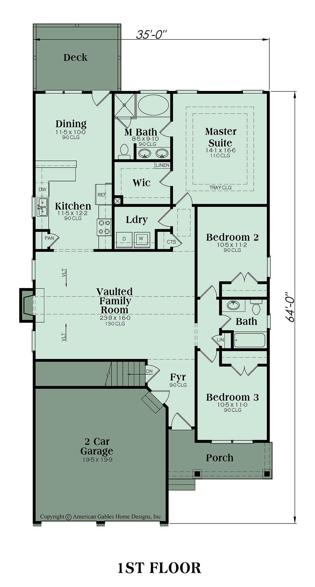 Narrow Lot Plan 1592 Square Feet 3 Bedrooms 2 Bathrooms Arlington Open Concept House Plans Narrow House Plans Basement House Plans