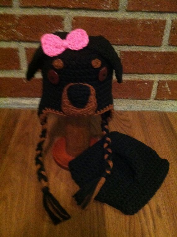 Crochet Rottweiler Puppy Dog Baby Hat and Diaper by gammyshouse ...