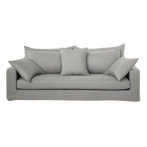 Sofa 3 Sitzer Aus Grobem Leinen Taupe