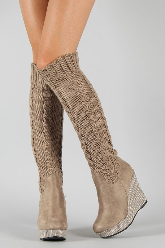 Liliana Verona 5 Knit Knee High Wedge Boot I Would Wear