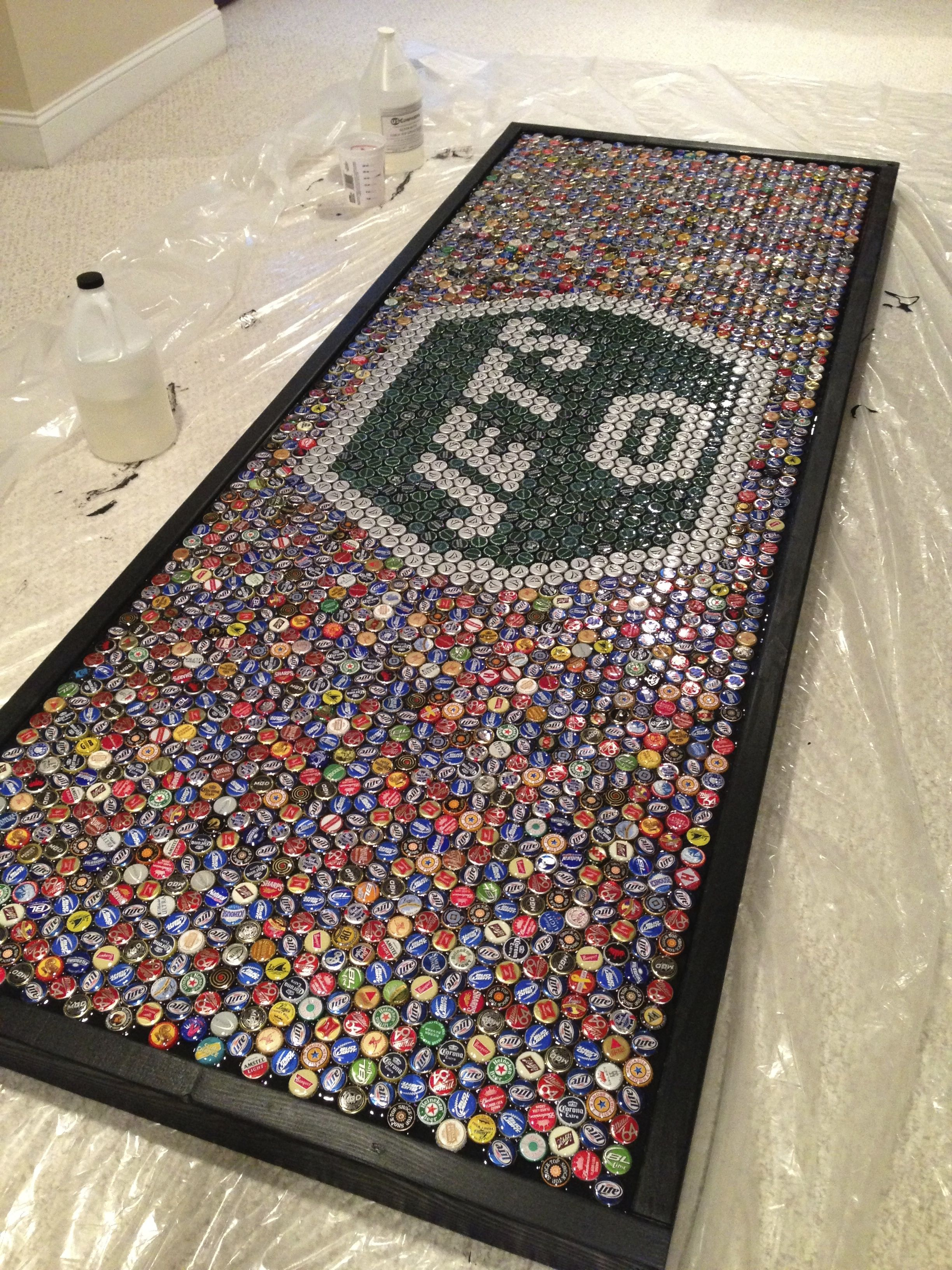 NY Jets beer pong table made with beer bottle caps
