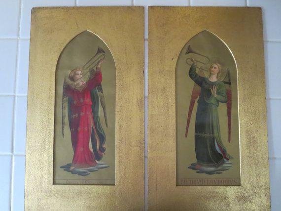 Antique Florentine Lithograph Prints Pair of by AzemiasAttic