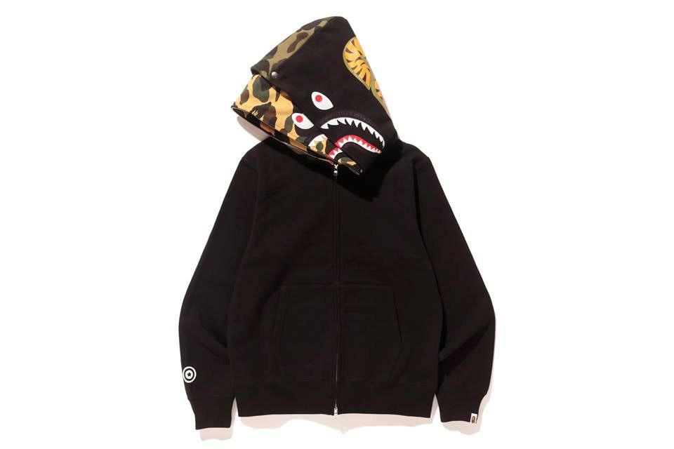 BAPE A Bathing Ape Shark Full Zip Double Hoodie Red Navy Black 8b24c59e0