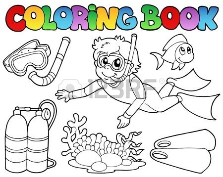 Coloring Book With Diving Theme Vector Illustration Coloring Books Vector Illustration Illustration