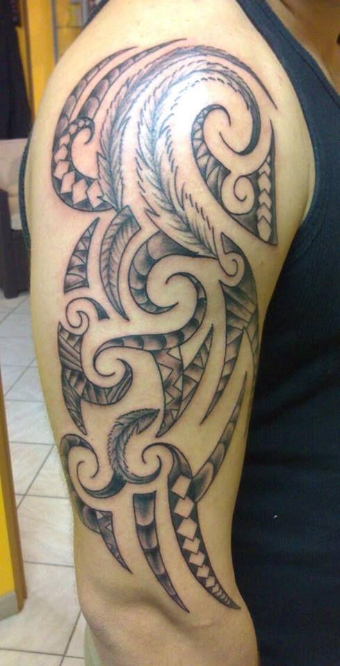 Tattoo Tatouage Maori Tribal Polynesien Bras Manchette Plume Tats