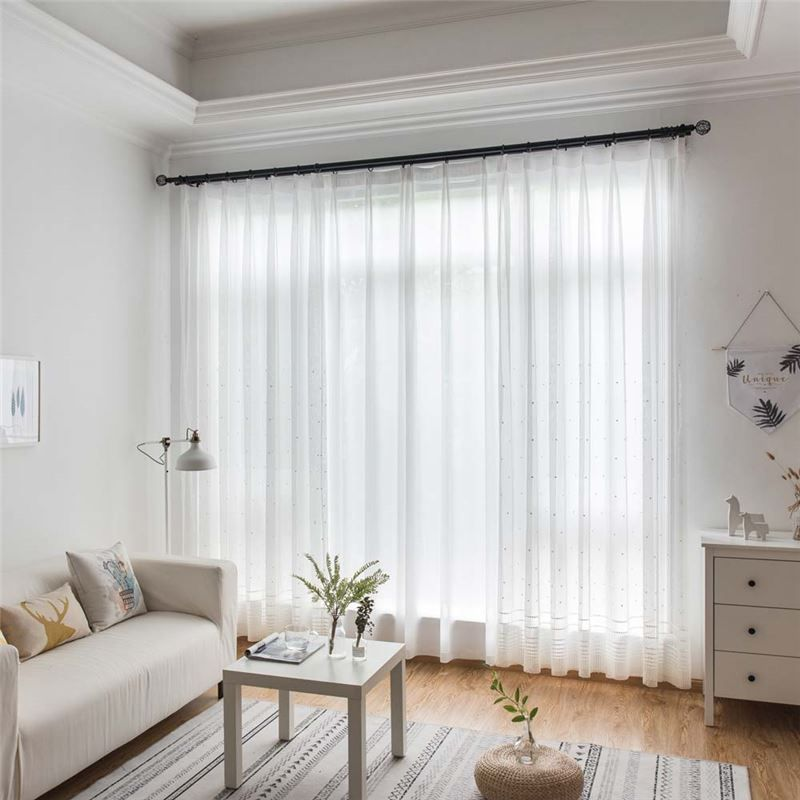 Dot Embroidery Sheer Curtain Nordic White Sheer Curtain Living Room Bedroom St Curtains Living Room White Sheer Curtains Living Room Living Room Decor Curtains