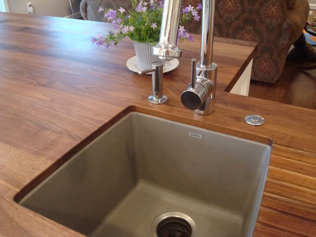 Sinks: Blanco Silgranit In Metallic Gray (note Silver Drain), Faucets:  Hansgrohe High Arc