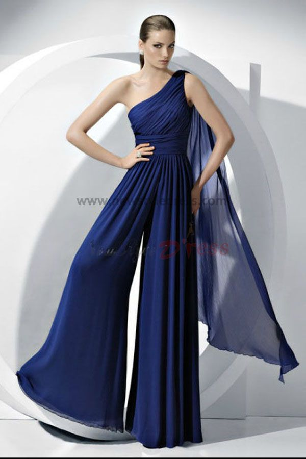 2014 Vestido Fashion Royal Blue Chiffon Jumpsuits Wedding Party Nmo