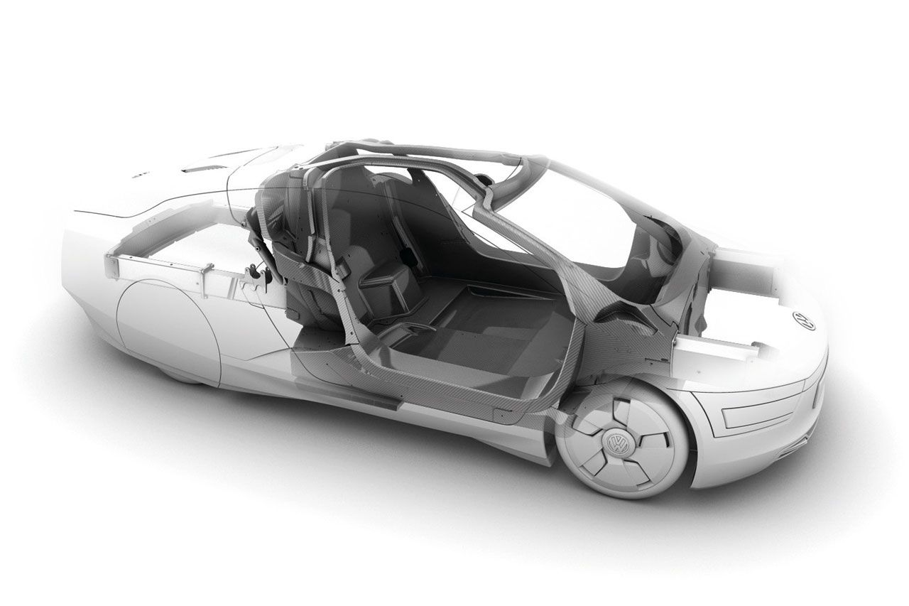 Volkswagen ••XL1•• mechanics (2) (via CarBodydesign) • world's most fuel-efficient car ever - 1st real concept car ; ) as most are just teasers for internal use, always dulled down, only briefly inspiring but ultimately frustrating w/ practicality • developed 2002 • 2-seater • 1753 lbs (< 1/2 Ford Fusion) • drag coefficient .186 vs audi A5 .31 or H2 .57! • choice: hybrid or diesel • 2c 800cc • 100km/1L or 240mpg! • EU 1st, only 400 cars?! 2016 in USA? • big neg: $140k beats saving if not…