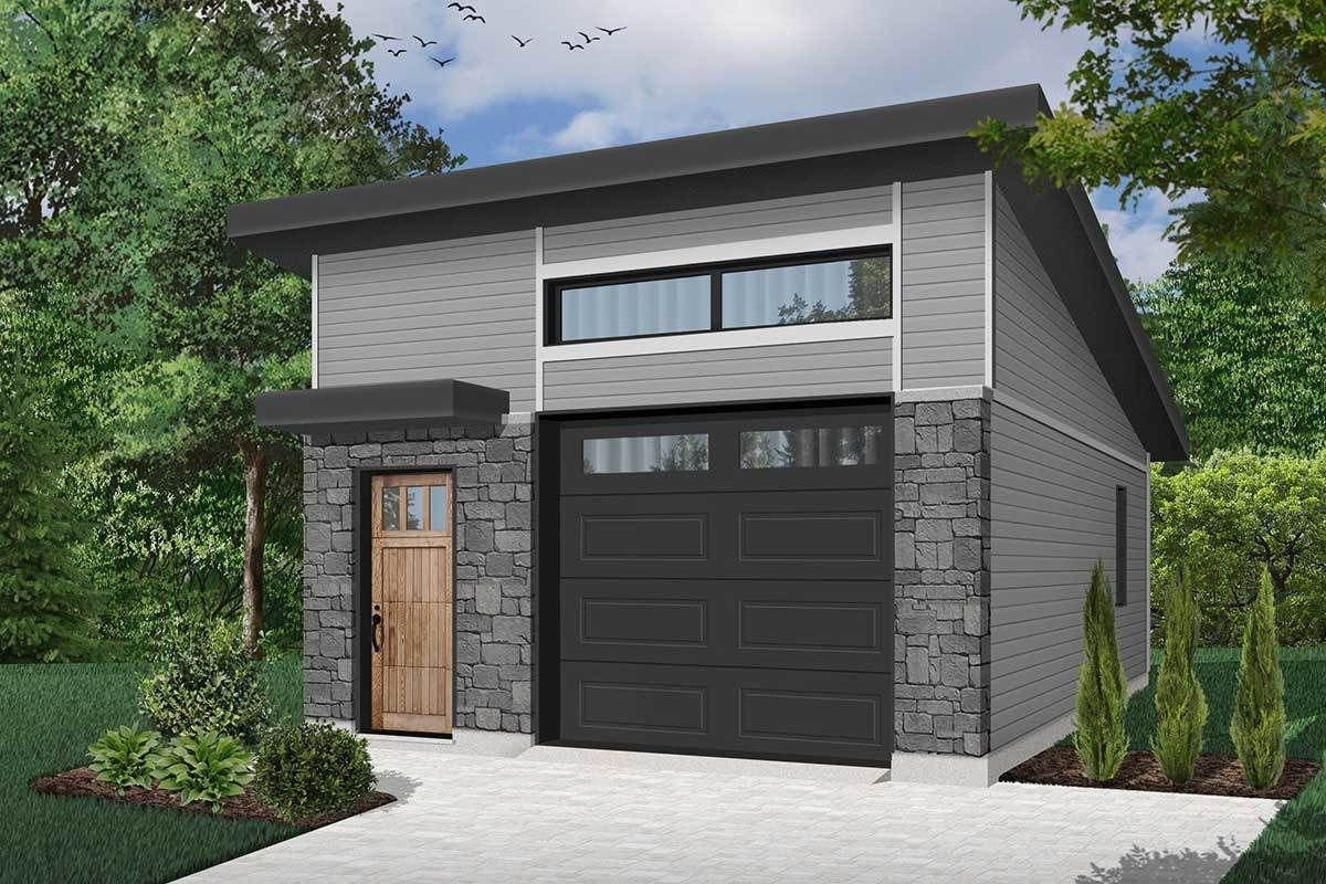 Plan 22447dr One Car Modern Garage Plan With Man Door Modern Garage Garage Door Design Garage Plans With Loft