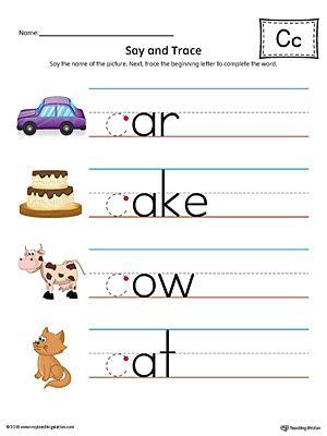 Say and Trace: Letter C Beginning Sound Words Worksheet (Color) | Kind