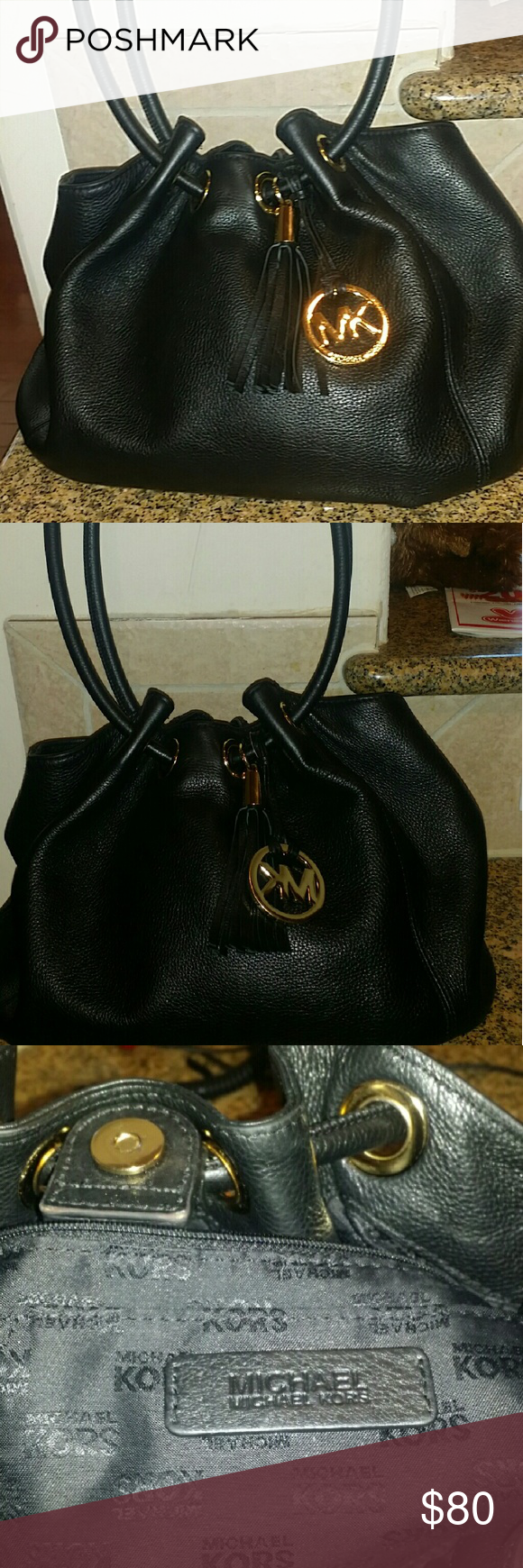 f11ce97bf33f Michael Kors Hobo Bag Authentic MK black soft leather bag, the bag is in  good condition, except for a small nick on the inside strap Michael Kors  Bags Hobos