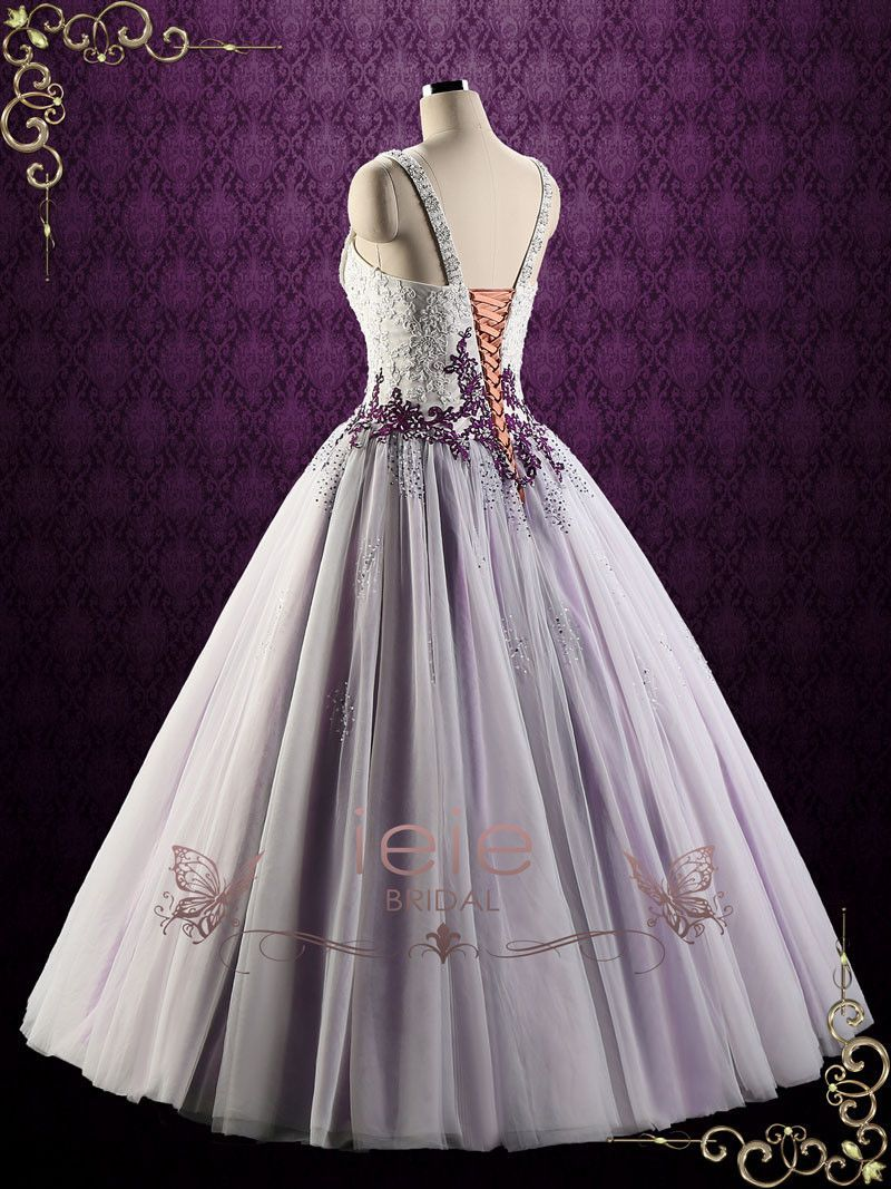 32 Beautiful White Wedding Dresses With Purple Accents Camo