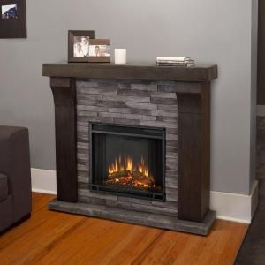 Real Flame Avondale 48 In Cast Electric Fireplace Gray