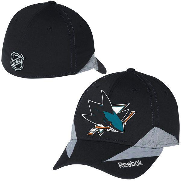 0574f1e3745 San Jose Sharks Reebok Center Ice Practice Flex Hat - Black