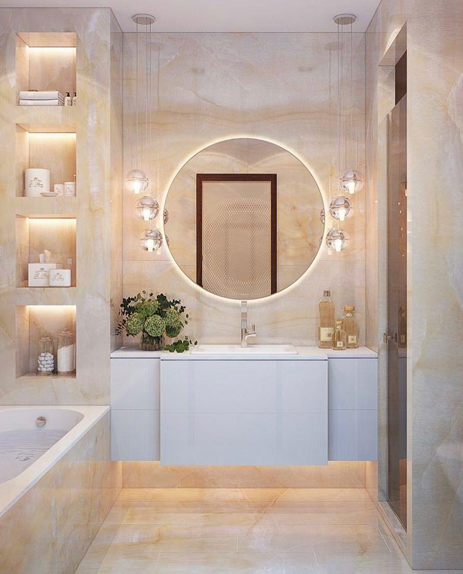 Small Bathroom Frameless Mirror Ideas Decorative Mirrors Bathroommirror Bathroomremodel Bathro Bathroom Interior Design Bathroom Interior Unique Bathroom