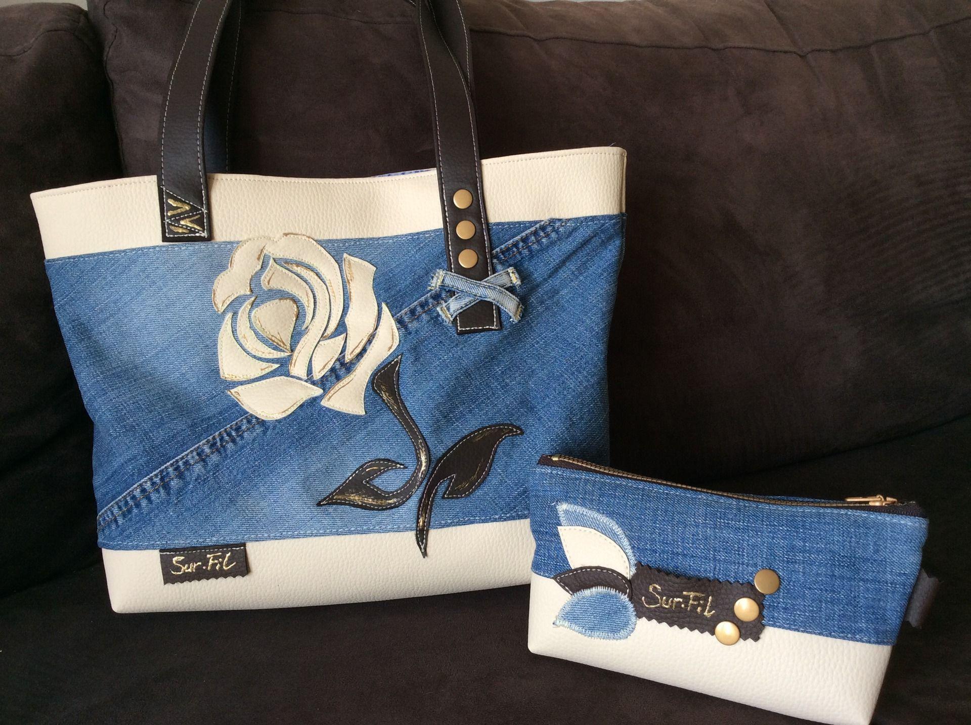 sac et pochette le rose en jean et simili sacs main par sur fil sacs pinterest simili. Black Bedroom Furniture Sets. Home Design Ideas