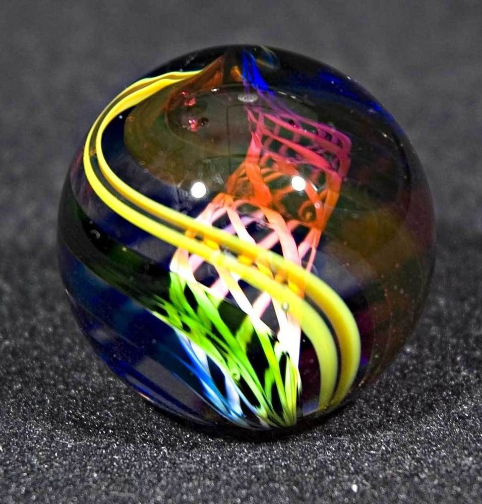 "Harry Boyer 'Rainbow Swirl' Art-Glass Marble with inner White Latticino Core & Outer bands in Rainbow colours & arrangement | Signed to base pontil, c.1984 - 1-1/2"" in size 