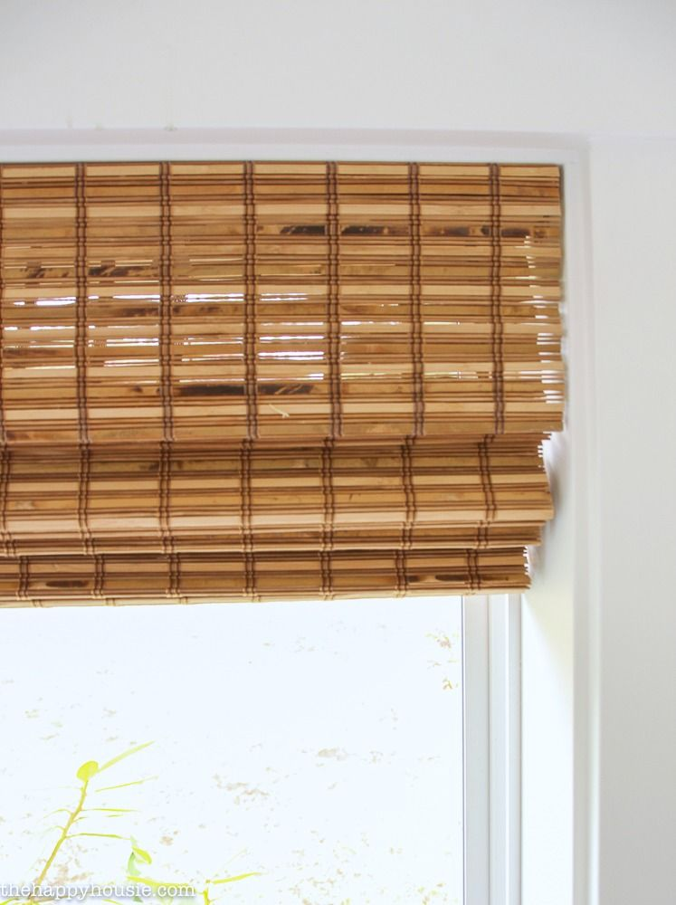 The Blinds Are In Our Cordless Bamboo Woven Blinds The Happy
