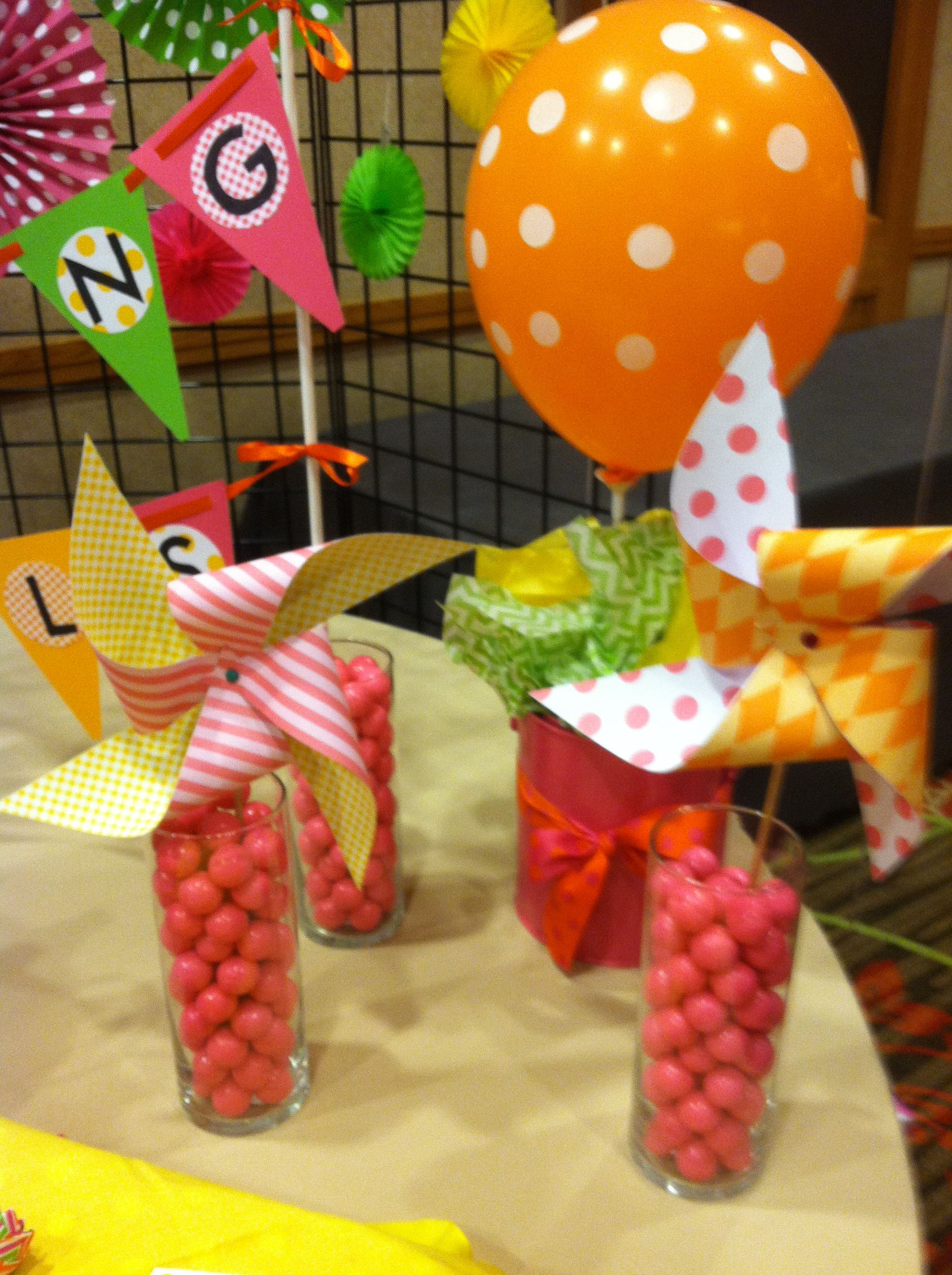 Fun pinwheels and bubble gum filled vases