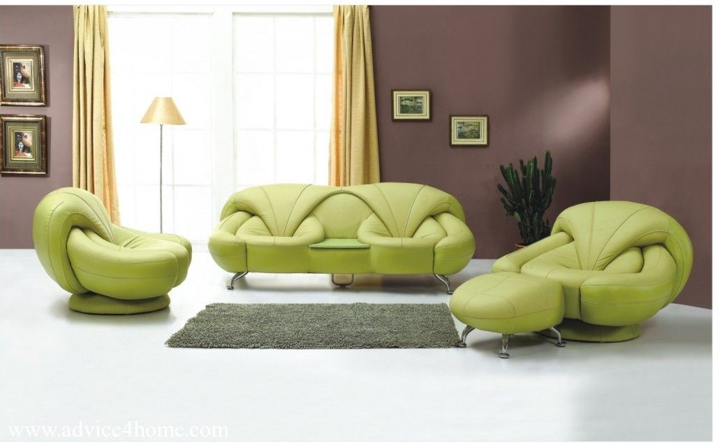 Latest Green Sofa Design And Dark Purple Wall In Living Room