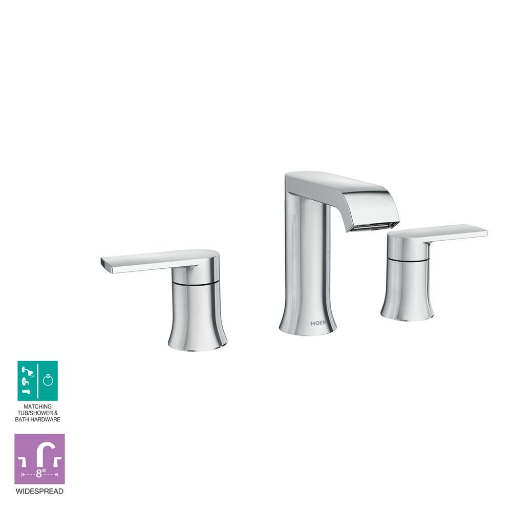 Moen Genta 8 In Widespread 2 Handle Bathroom Faucet In Chrome