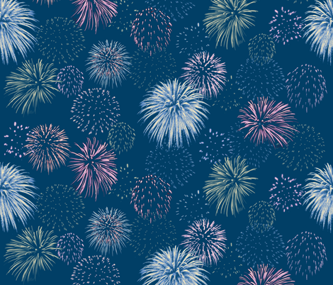 twilight fireworks fabric by weavingmajor on Spoonflower - custom fabric  - 12 quilting, apparel and upholstery fabrics. Including silks, organic cottons and a linen blend. Non-toxic inks, eco-friendly printing. Swatches $5, 20% off 20+ yards. Instant preview, look before you buy!
