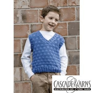 Free Crochet Vest Pattern For Child : Sierra V Neck Vest Knitted Boys Vest Pattern by Cascade ...