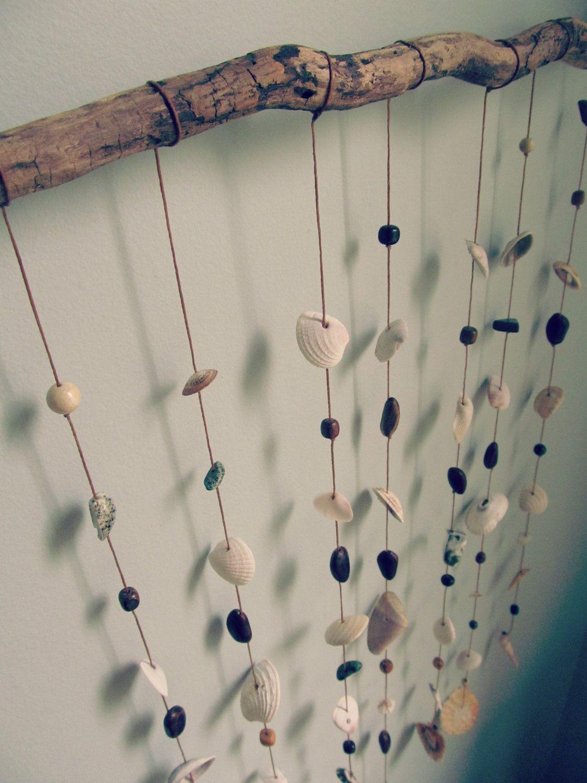 Natural Shell Mobile Eco Home Decor Wall Hanging Etsy Hanging Wall Decor Seashell Wall Art Decor