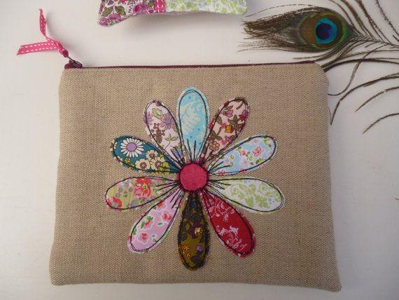 Handmade Cosmetic Makeup Bag Purse Flower Applique