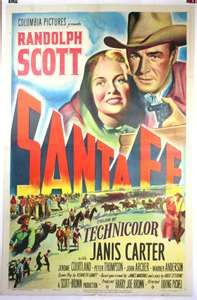 SANTA FE, Vintage Movie Poster, Randolph Scott