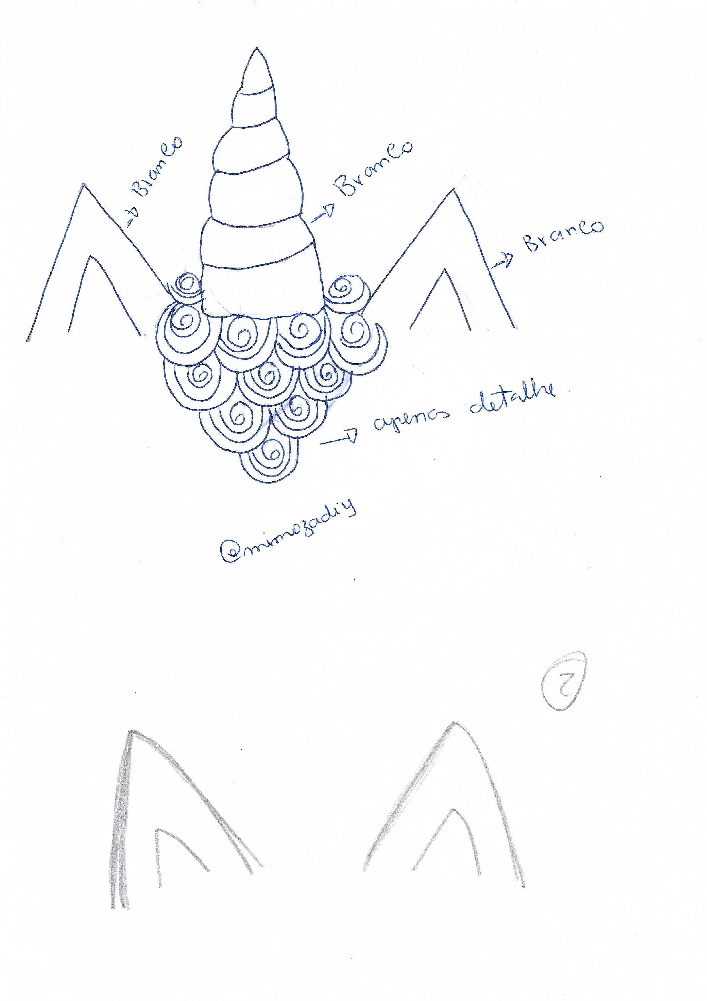 Molde Orelhas E Chifre Unicornio Capa De Caderno Eva