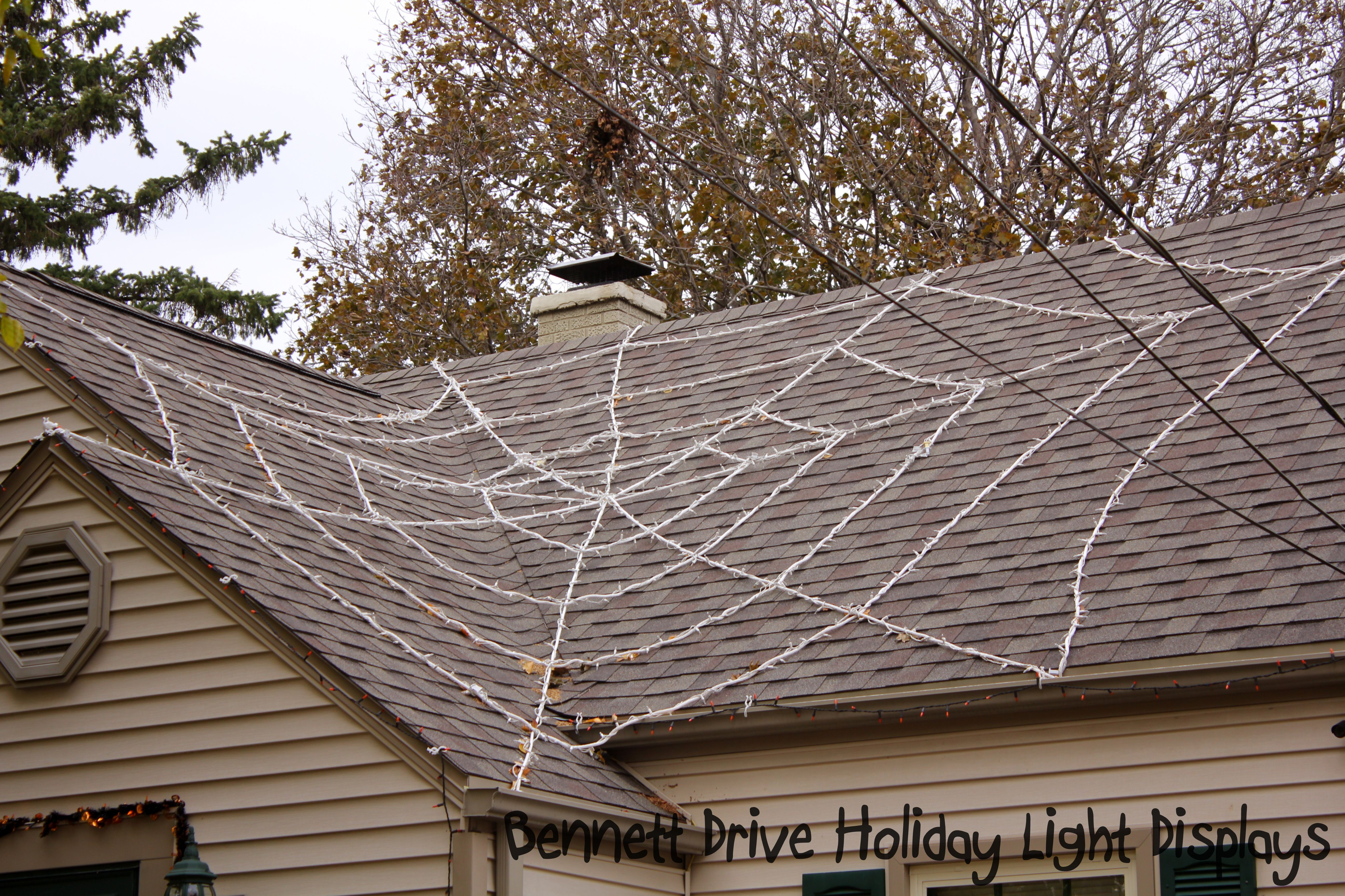 Light Up Spiderweb For Your Roof On Made From White 3 4 Rope With Clear Wire Christmas Lights Overling The