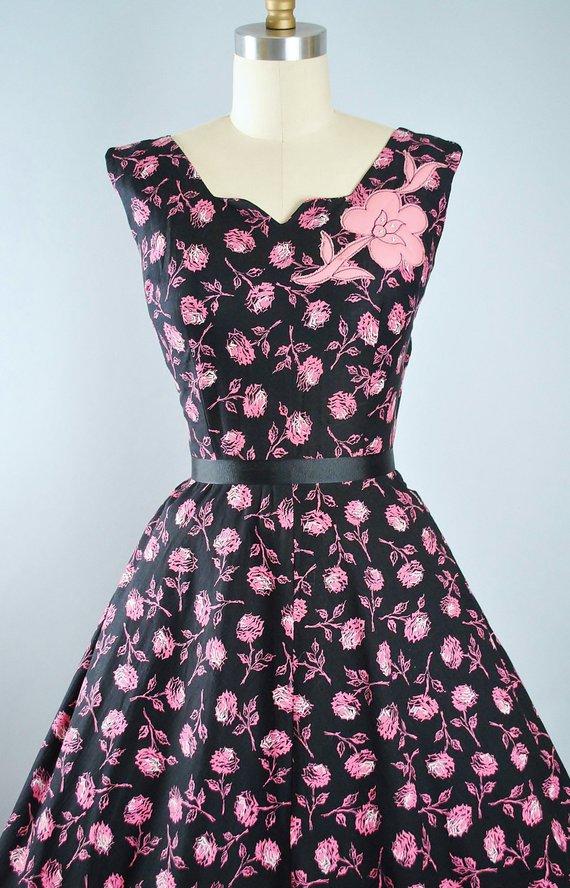 9d63754adad Vintage 50s ROSE Print Dress   1950s Black Cotton Sundress Pink Floral  APPLIQUE ROSES Full Swing Ski