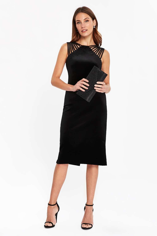 6cfc892b Black Velvet Detailed Shoulder Dress | DISCOVER YOUR DARK SIDE ...