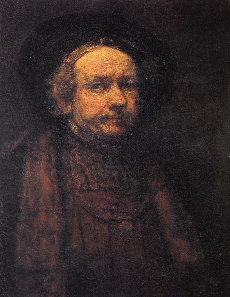 rembrandt self portrait galleria degli uffizi  rembrandt self portrait 1668 1669 galleria degli uffizi florence