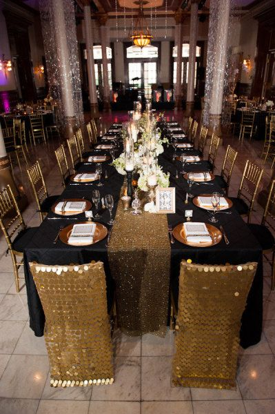 Love love love the gold sequin chair covers...and the amazing metallic runner