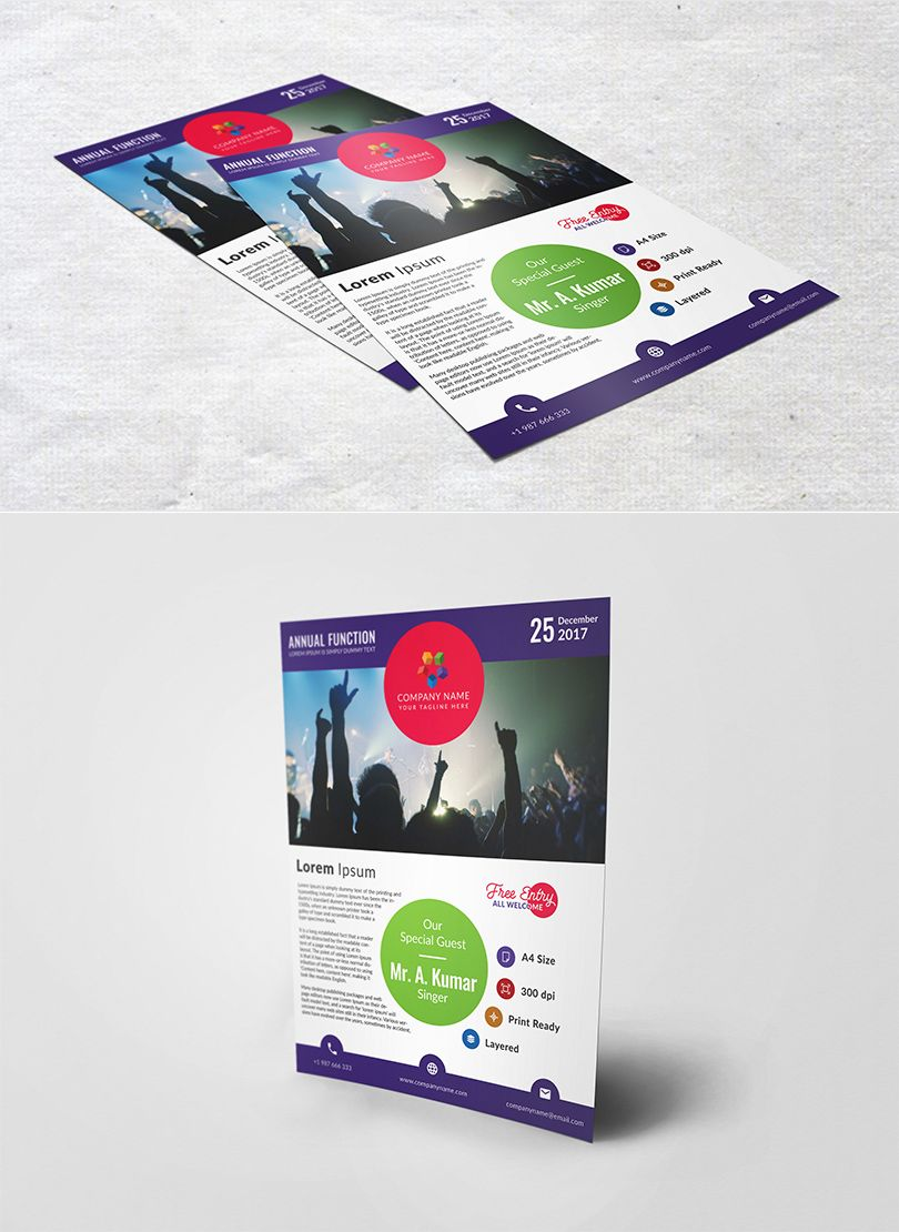 Annual Function Flyer Template Designpex Free Download Psd