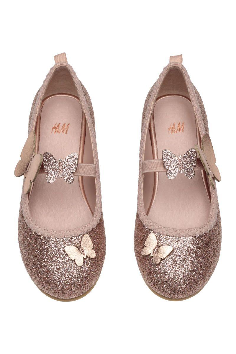 Ballet Flats | Powder pink/glitter