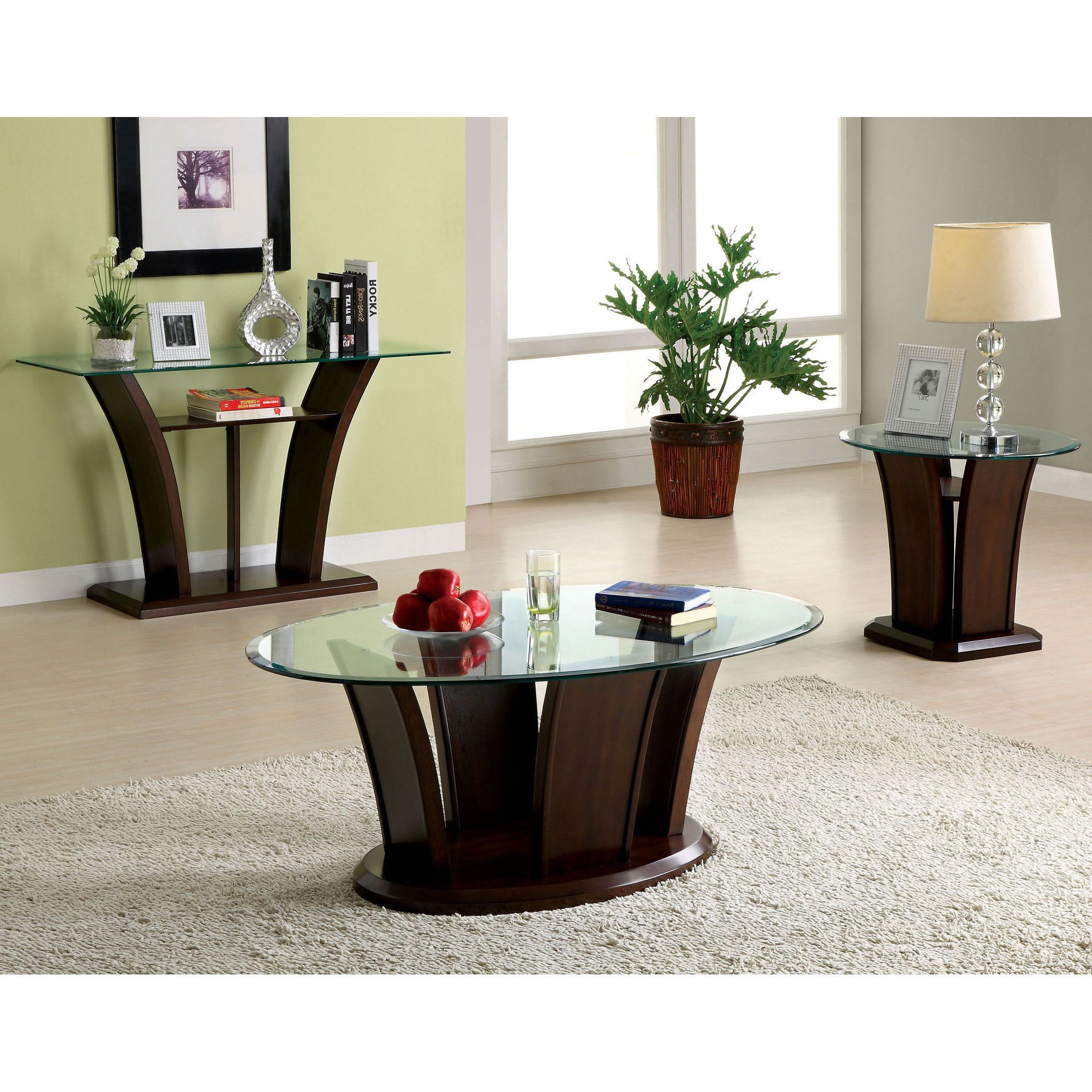 Each has a glass top with sturdy unique wood base finished in dark cherry the sofa table mea