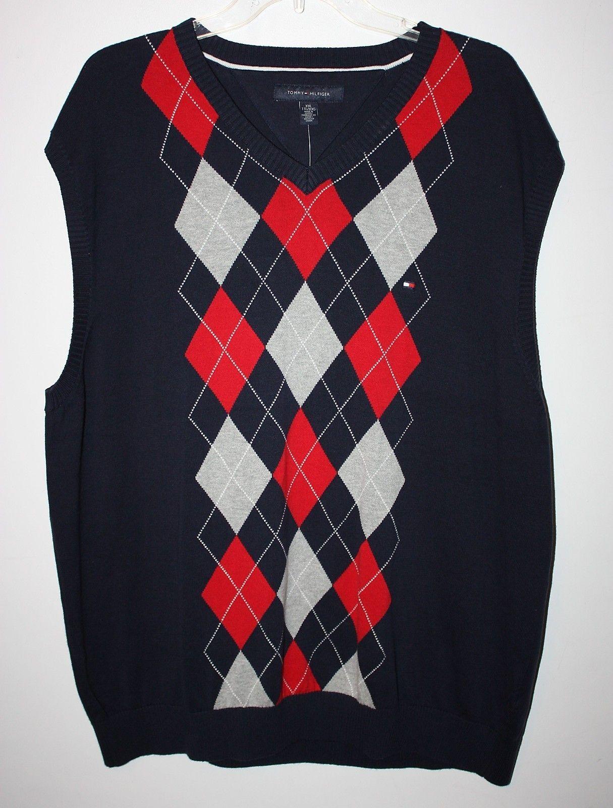 Mens Size 2X Tommy Hilfiger Argyle Sweater Vest Navy Blue,Pink & Gray NEW NWT | eBay
