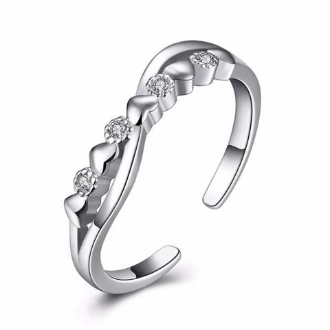 Hearts and Cubic Zirconia 925 Sterling Silver Adjustable Ring www.zapppedjewelry.com