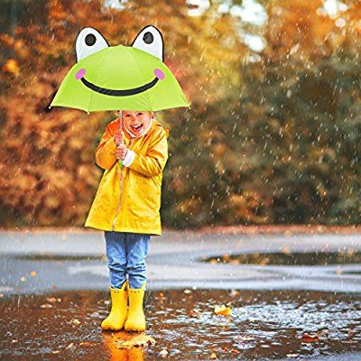 relaxdays kinderregenschirm mit 3d frosch, regenschirm für mädchen und jungen, kleiner