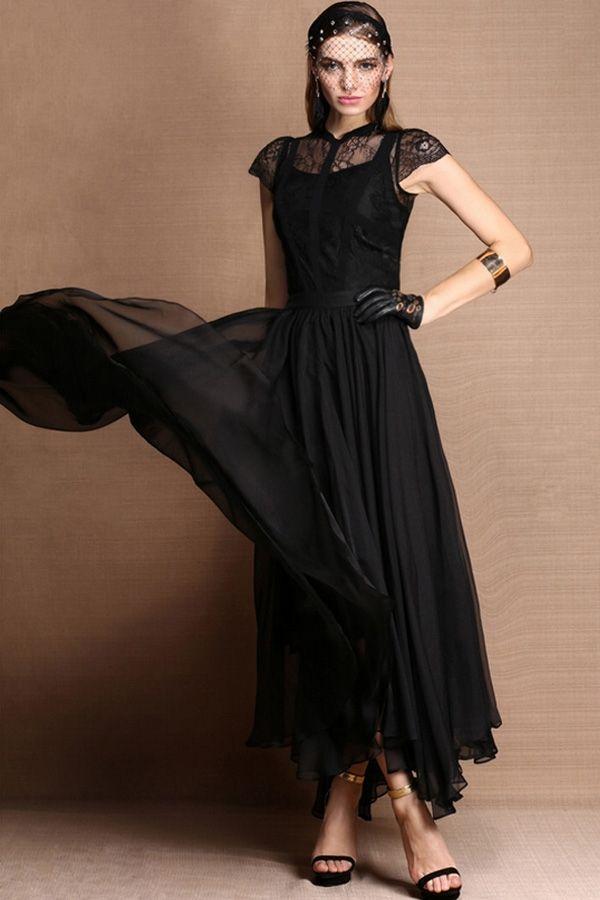 Fabulous Round Neck Cap Sleeve Chiffon Maxi Dress - OASAP.com